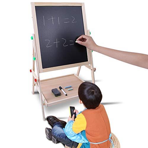 Pizarra Infantil con pies Regulables,Pizarra Madera Infantil,Pizarra de madera 2 en 1 con regulable y tizas,De Caballete Para Niños Caballete Chalk Drawing Board,14.5×27.5 Inch,tizas coloreados×12