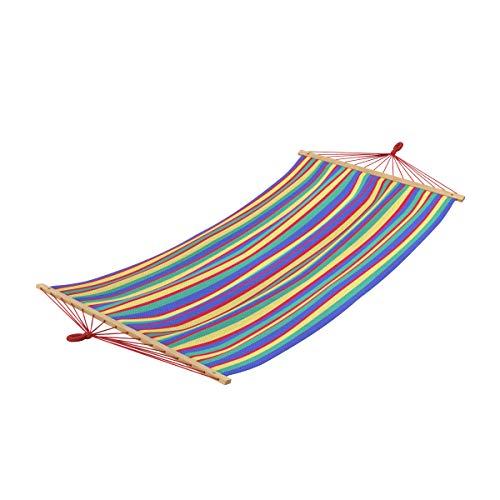 Ampel 24 - Amaca Rainbow a Strisce 190 x 120 cm | Amaca Singola a Strisce Colorate | Barre trasversali in Legno | carico Massimo Fino 120 kg