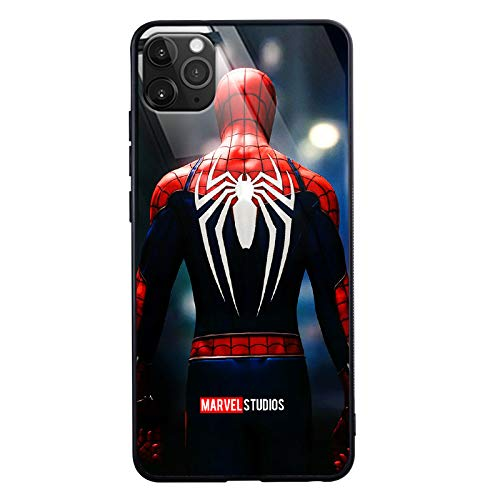 Spider Man 2 Call Led Flash Luminescent Glass Case for iPhone 7 8 Plus Xr 11 Pro Max SE2, Galaxy S10 N10 S20 Plus, Marvel Theme Luxury Tempered Glass Cover Case (Spider Man Back, Galaxy S10 Plus)