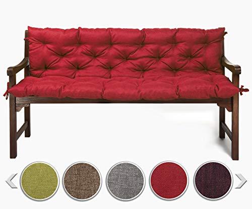 sunnypillow Bankauflage Stuhlkissen Bankkissen 180 x 50 x 50 cm Sitzkissen und Rückenkissen für Hollywoodschaukel Polsterauflage Auflage für Gartenbank viele Farben und Größen zur Auswahl Rot