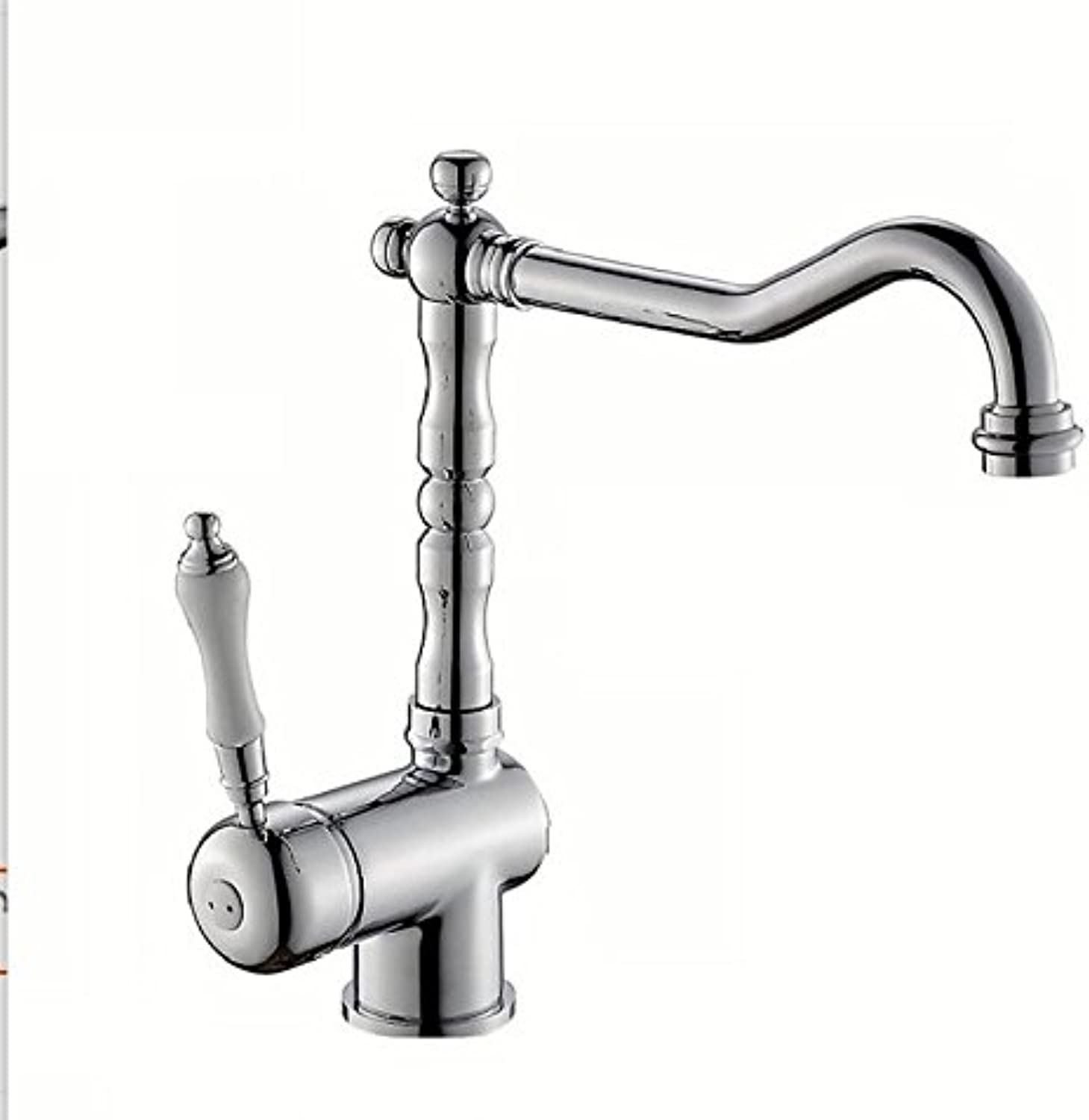 Makej Silver Brass Bathroom Sink Faucet Hot Cold Mixer Water Tap