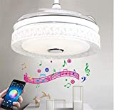 Sweety House 42'Bluetooth Music Ceiling Fan Ceiling Light, Multi-Function Remote Control LED Stealth Retractable Blade Adjustable 7 Color Light and 3 Wind Speed Deco (Upgraded white)…