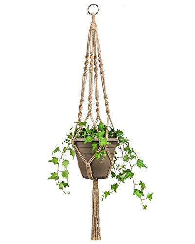 LAAT Blumenampel Makramee Blumenampel Seil Dual-Blumenampel Pflanze Hanger Dekoration Korb Halter Dekoration für Indoor Outdoor Balkon Decken Liefert (Braun)