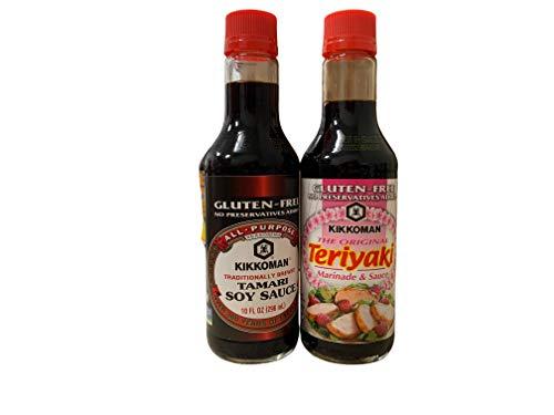 Gluten Free Kosher Kikkoman Teriyaki Marinade and Sauce 10 oz and Tamari Sauce 10 oz Bottle Bundle