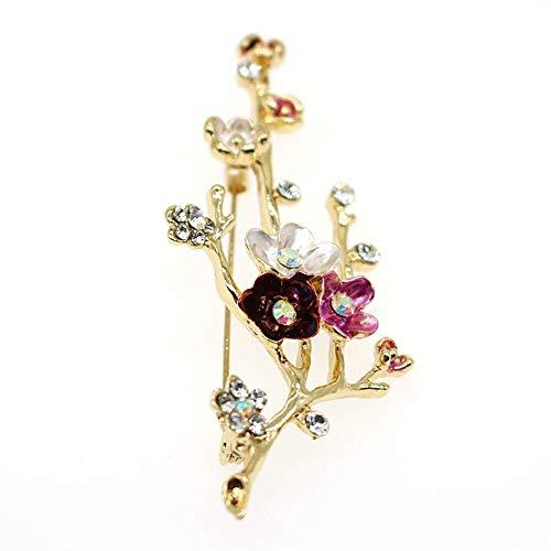 HSQYJ Broches de cristal con diseño de flores esmaltadas con diamantes de imitación y estilo vintage, buena idea para fiestas, bailes, bodas, banquetes para mujeres y niñas