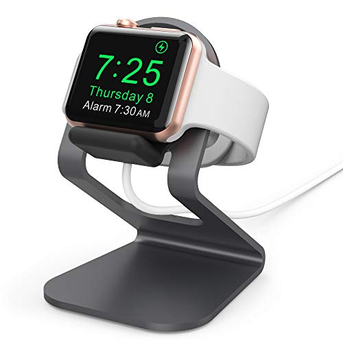 AhaStyle iWatch Stand Holder, Aluminum Charging Stand Dock Compatible with Apple Watch Series 5, Series 4, Series 3, Series 2, Series1, Supports Nightstand Mode(Black)