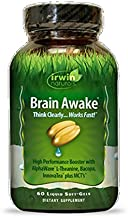 Brain Awake High Performance Booster by Irwin Naturals, B Vitamins and MCT, Think Clearer and Work Faster, 60 Liquid Soft-Gels