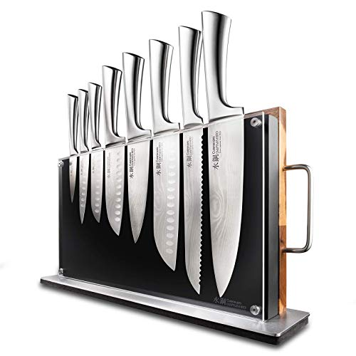 Bodo 10 Piece Knife Block with Chopping Board - Damashiro by Cuisine::pro - Includes 1 Chefs Knife and 1 Bread Knife, 3 Santoku Knife, 1 Mini Chef, 1 Utility Knife, and 1 Paring Knife