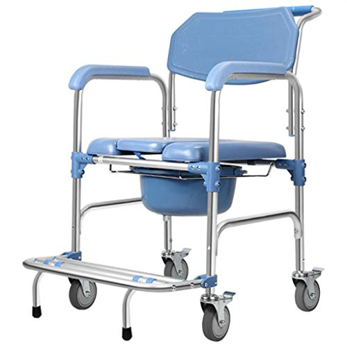 AGWa Silla de ducha con ruedas limpias, respaldo ergonómico, adecuada para adultos obesos, ancianos, mujeres embarazadas, personas discapacitadas,A