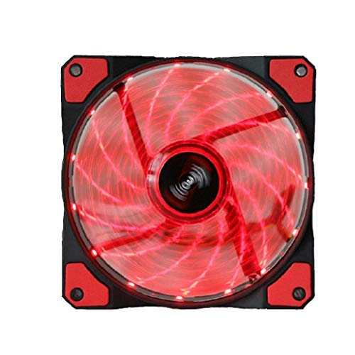 #N/A/a Ventilador Silencioso del Chasis de La Computadora de 4PIN 120mm 120x120x25mm con Lámpara LED - Rojo