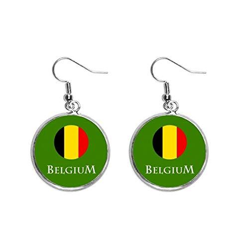 Bélgica Bruselas Unión Europea pendientes colgantes de plata para mujer