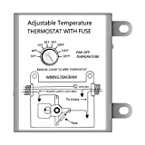 iPower Adjustable Programmable Thermostat with Fuse for Power Attic Ventilators, Replacement Thermostat, White, 1-Pack