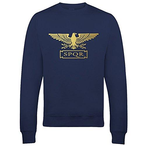 Standard SPQR Mädchen-Sweatshirt, römisches Empire, Metallic-Gold, Adler Gr. 7-8 Jahre, navy