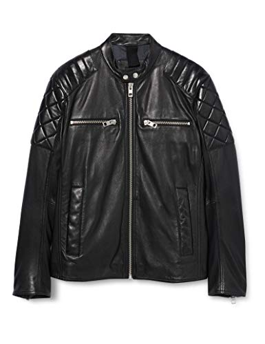 BOSS Mens Jeean Leather Jacket, Black (001), 48