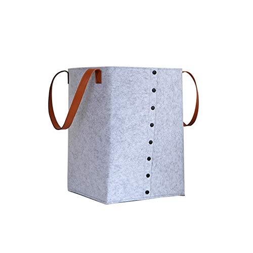 Ropman Cesto plegable para la ropa sucia con asa, grande, gris y negro, fieltro de lana, cesta plegable para juguetes, ropa organizada (cesta para la colada gris)