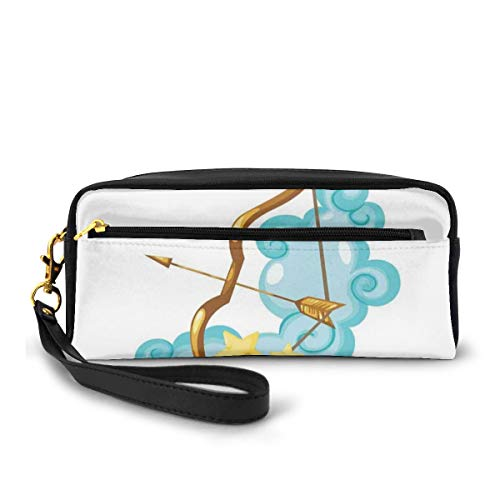 Pencil Case Pen Bag Pouch Stationary,Astrology Themed Cartoon With Bow And Arrow On Clouds,Small Makeup Bag Coin Purse
