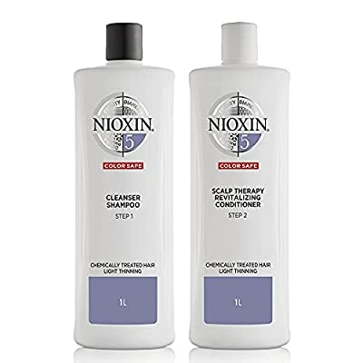 Nioxin System 5 for Chemically Treated Hair with Light Thinning Cleanser Shampoo (33.8 Ounce) and Scalp Therapy Conditioner (33.8 Ounce) Set