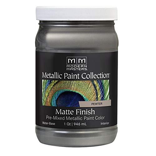 Modern Masters MM209 Matte Metallic Paint, Pewter, Quart