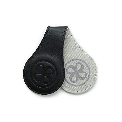 Cloby Swaddle Magnet Clips Brown Leather 2 Farbig Rückseite Canvas Grau Fixiert Ihren Sonnenschutz am Kinderwagen (Black Leather)