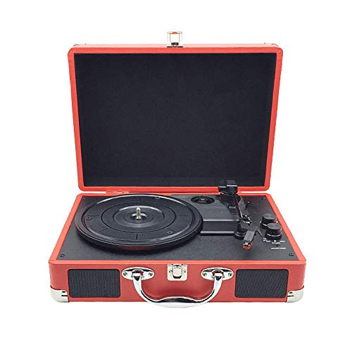 Vinyl Gramophone Record Player Retro, Creative Bluetooth Speakers, Europees-Style koffer Record Speler, Rood, Record