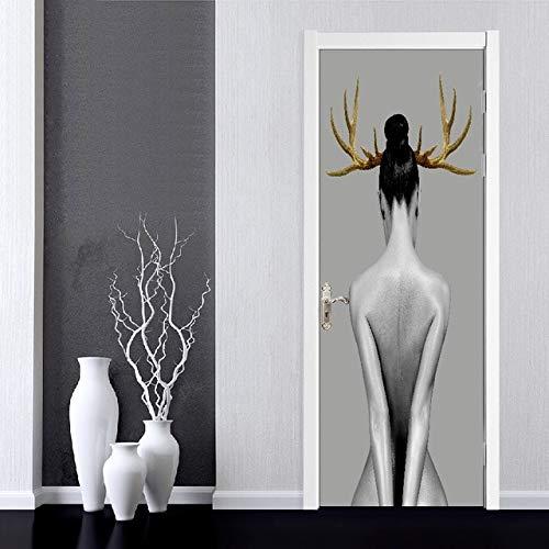 DFKJ Arte Autoadhesivo Flores Hermosa calcomanía Etiqueta de la Puerta del hogar Decoración Renovación Papel Tapiz Imprimir Imagen para Sala de Estar A14 77x200cm