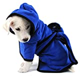 Bonaweite Microfiber Dog Bathrobe, Quick Drying Pet Bath Robe, Pets Super Absorbent Towel for Dogs and Cats, Machine Washable-Blue