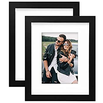 Yome 2 Pack 8x10 Black Picture Frames with Mats Photo Frames Set for Wall or Tabletop Display Pictures Create Your Meaningful Memories Solid Wood and Plexiglass