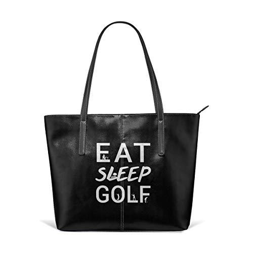 King Dare Eat Sleep Golf Women Fashion Handbags Tote Bag Shoulder Bag Top Handle Satchel - Microfiber PU Leather