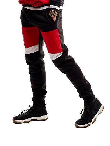 SCREENSHOT SPORTS-P11975 Mens Premium Hip Hop Fashion Pockets Fleece Pants - Athletic Jogger Color Block Fitness Utility Sweatpants-Black-Large