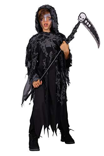 narrenkiste T3056-116-128 - Capa con capucha y Sense Der Muerte (talla 116-128), color negro