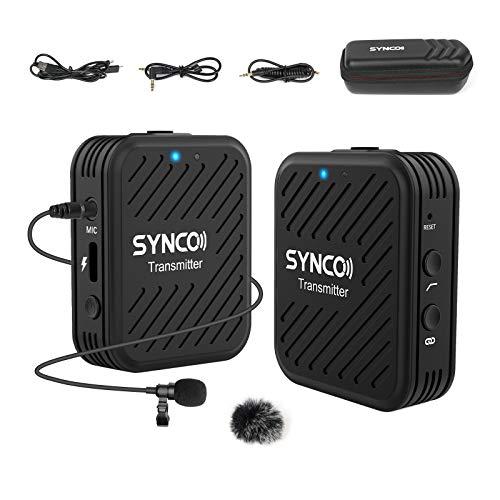 技適マーク認証SYNCO-G1(A1)-2.4GHzワイヤレスオーディオ伝送システム-カメラ外付けマイク スマホマイク ローカット機能 70m伝送距離 内蔵マイク 外部ピンマイク付属 スマホ、一眼レフ、PC、タブレット、ビデオカメラ、レコーダー等に対応 1台送信機・1台受信機日本語説明書付き&日本語サポート&1年間保証