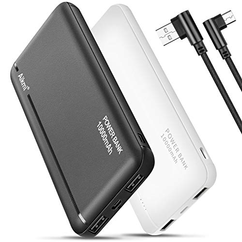 Portable Charger Power Bank 10000mAh - 2 Pack External Battery Pack with Dual USB Ports and USB-C Input, Compact Charging Backup Phone Charger, Compatible for iPhone, Samsung, iPad, etc.