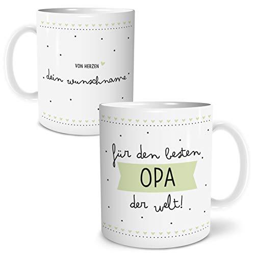 OWLBOOK Bester Opa große Kaffee-Tasse mit Namen personalisiert im Geschenkkarton geliefert schöne Geschenkidee Geschenke für Deinen Großvater