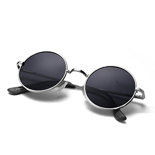 Menton Ezil John Lennon Small Round Occhiali da sole Retro Vintage Style Hippy Glasses For Men and Women con Cerchio lente polarizzata Metal Frame Spring Hinge