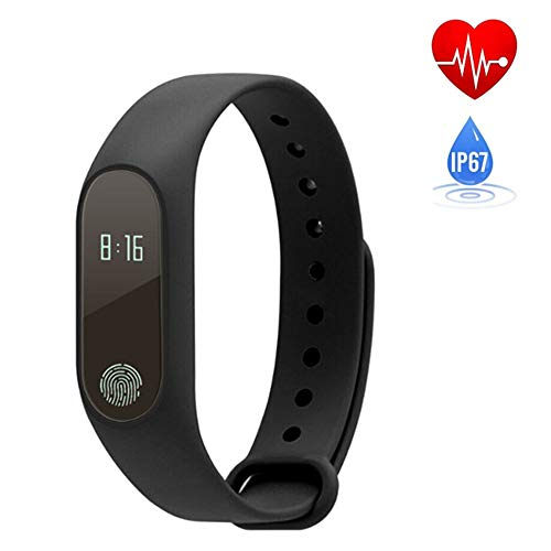 Mengen88 Smart Bluetooth armband, waterdicht, hardlopen, stappenteller, slaap, hartslagsensor, app-armband, trillingsherinnering, voor Android en iOS mobiele telefoons