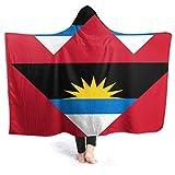 Manta con Capucha Bandera de Antigua y Barbudad Manta de Tiro usable Sherpa de Primera Calidad y Duradero Abrigo con Capucha para Bata Súper Suave y fácil de cuidar Manta de Tiro de 80 'x 60'