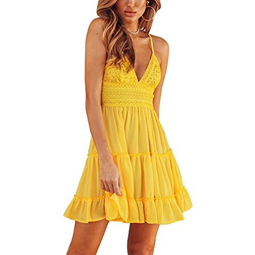 Meaner Vestito da Donna con Arco, Volant e Orlo Smocked, a Canottiera, Mini Abito da Spiaggia, Senza Maniche Pattinatore Vestito Festa Vestiti Casual Prendisole in Pizzo (Giallo, EU/38/M)