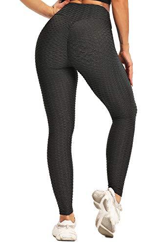 FITTOO Leggings Push Up Mujer Mallas Pantalones Deportivos Alta Cintura Elásticos Yoga Fitness #1 Gris Oscuro S