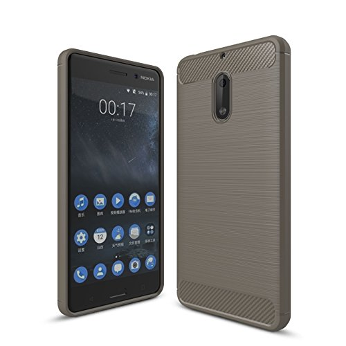 Nokia 6 Custodia, Protettiva Case Cover Custodia in silicone per Nokia 6 - Grigio