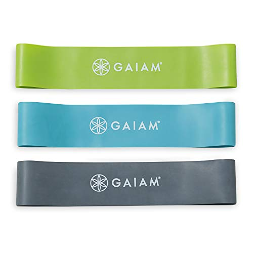 Gaiam Restore Mini Band Kit, Set of 3, Light, Medium, Heavy Lower Body Loop Resistance Bands for Legs and Booty Exercises & Workouts, 12 x 2 Bands
