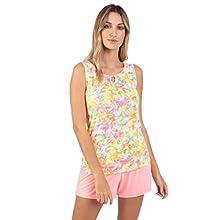 Massana Pijama de Mujer sin Mangas Estampado P211244 - Rosa, L