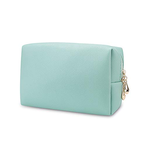 Small Makeup Bag for Purse, Travel Makeup Pouch for Women Girls Soft PU Leather Cosmetic Toiletry Bag Compact Cosmetic Pouch for Daily Storage (Mint Green)