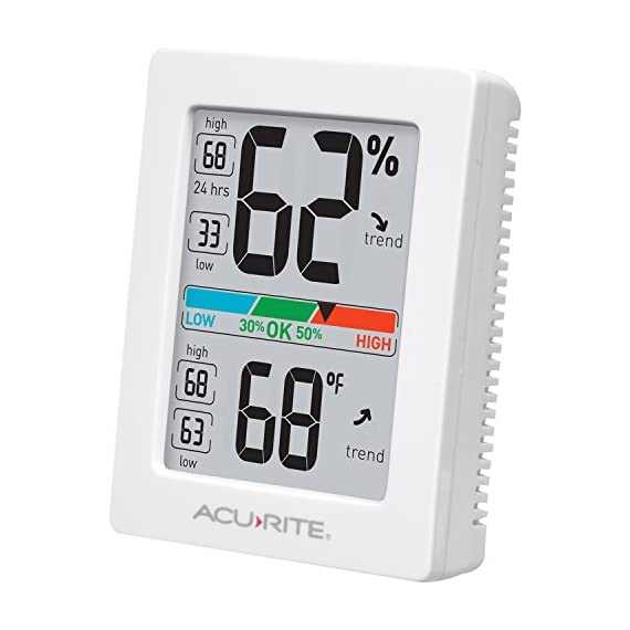 AcuRite Monitor for Greenhouse, Home or Office(3 x 2.5 Inches) Room Thermometer Gauge with Temperature Humidity, Digital… 2 Air Comfort Indicator (Indicates Low, Ok, or High Humidity) Accurate High and Low Records -4° to 158°F; -20° to 70°F Degree Range with +/- 0. 5°F Accuracy