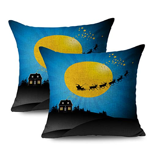 FUEWU Set of 2 Linen Throw Pillow Cover Square 18x18 Inches Deer Blue Fly Christmas Greeting Santas Sleigh Sky Claus Moon Reindeer Animal Architecture Black Pillowcase Home Decor Cushion Pillow Case