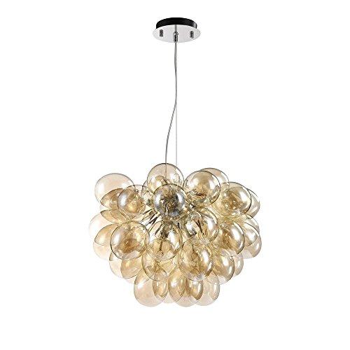Moderne stylische Pendelleuchte getönte Glaskugel, chromiertes Metall, dekorative Luftballons aus Glas, 8-flammig, Halogenlampen G9 28W nicht enthalten