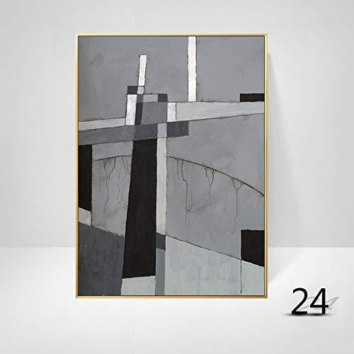 WSNDGWS Woonkamerdecoratie geometrische abstracte kleur kunst moderne minimalistische massieve muurschildering zonder fotolijst 40x60cm K2