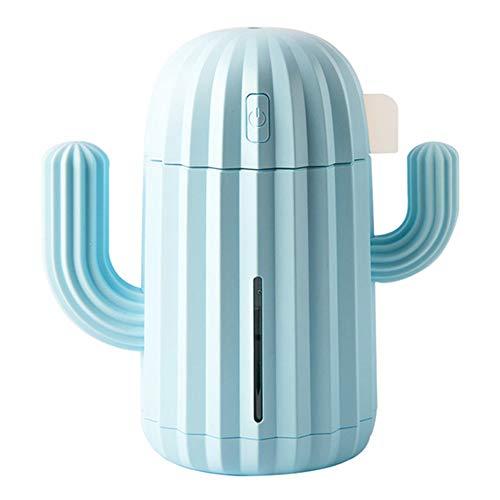Fransande Humidificador de aire USB Cactus de 340 ml, difusor de aceites esenciales de aromaterapia, difusor de aroma y niebla, con luz azul