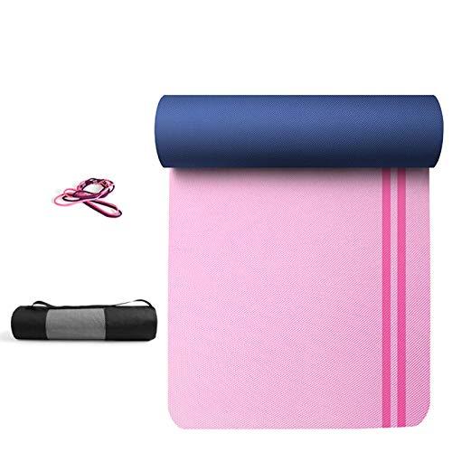 ZBK Esterilla de yoga, de 8 mm de grosor, de dos colores de TPE antideslizante, esterilla de yoga, esterilla de fitness, 183 x 66 x 0,8 cm, 5 colores