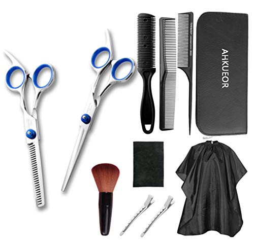 Tijeras profesionales de peluquería de acero inoxidable, 11 piezas, tijeras de peluquería para corte de pelo, salón o hogar, tijeras de corte plano, peine para chal, paño de limpieza y clip para