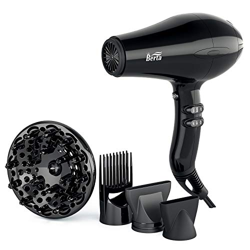 Professional Hair Dryer, 1875W Tourmaline Ceramic Blow Dryer with Diffuser & Comb & Two Concentrators, Negative Ionic Blower Fast Drying with 2 Speed and 3 Heat Setting Black